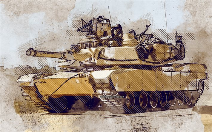 M1A2 SEP V2 Abrams, american tank, grunge art, creative art, painted Uluru, drawing, M1 Abrams grunge, digital art, M1A2