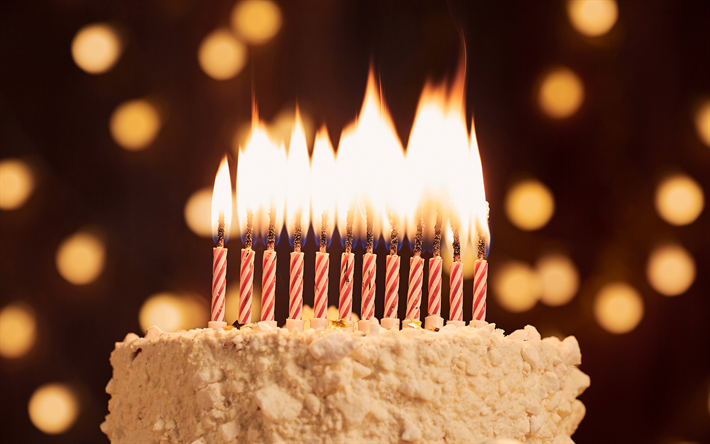 Download Wallpapers Cake With Candles Happy Birthday Dessert Cake