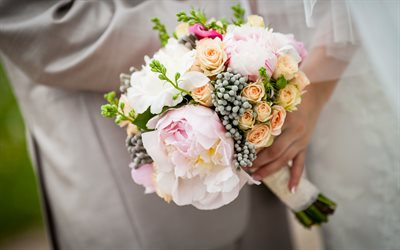 Wedding bouquet, peonies, bride, white wedding dress, wedding, beautiful bouquet