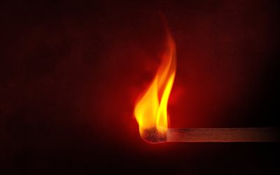 Fire, flame, burning match, sulfur