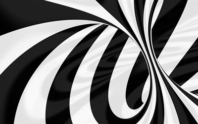vortex, 4k, black and white, 3d, art, lines
