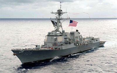 USS Stockdale, 4k, sea, DDG-106, US Navy, destroyer, NATO, warship
