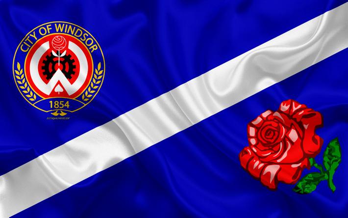Flag of Windsor, 4k, silk texture, Canadian city, blue silk flag,