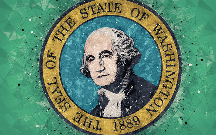 Download Wallpapers Seal Of Washington 4k Emblem Geometric Art