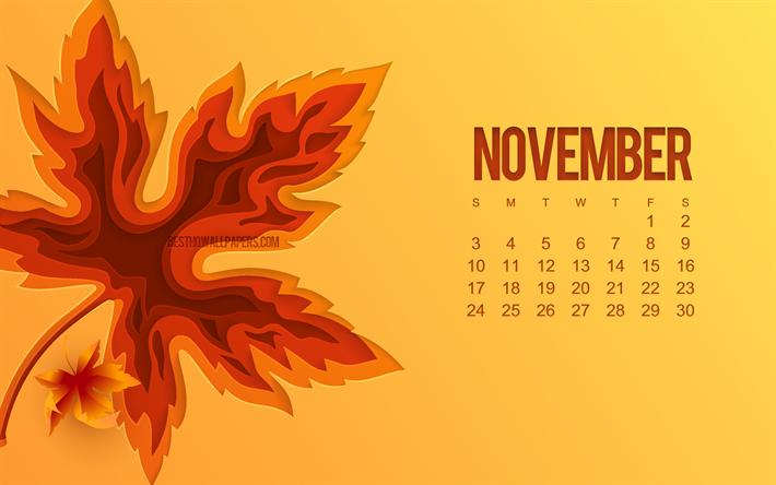 Download Wallpapers 2019 November Calendar 3d Autumn Leaf