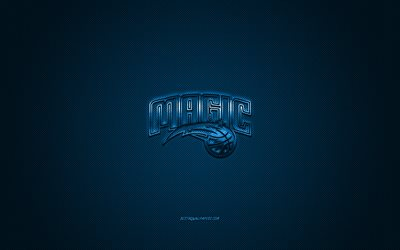 Orlando Magic, American club di pallacanestro, NBA, logo blu, blu contesto in fibra di carbonio, di basket, di Orlando, Florida, USA, la National Basketball Association, Orlando Magic logo