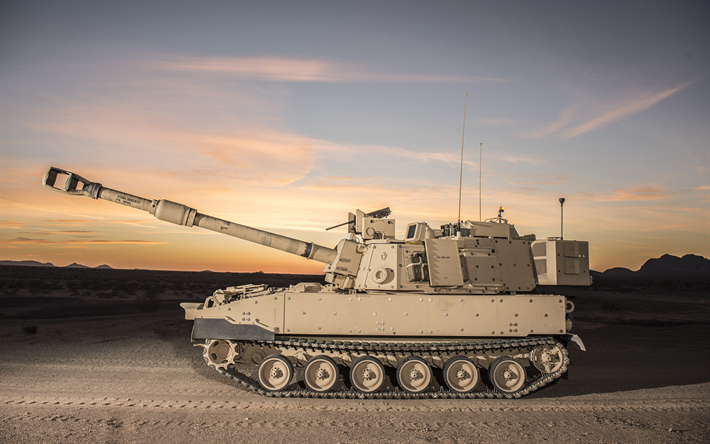M109, Paladin, 155mm Self-Propelled Howitzer M109, M109A7, American Army, modern armored vehicles, USA