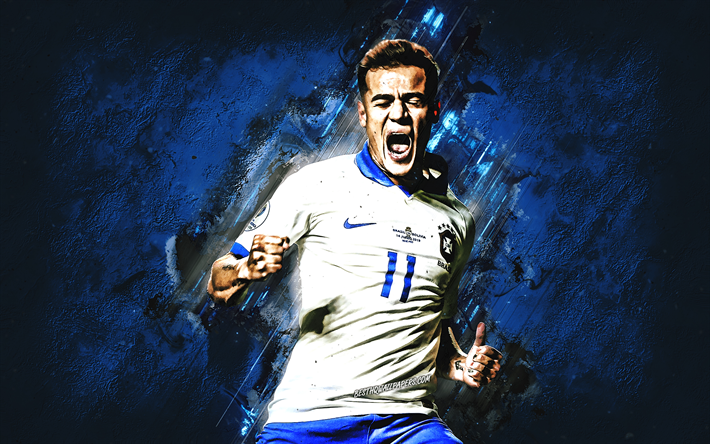Philippe Coutinho, portrait, Brazil national football team, Brazilian soccer player, blue creative background, Brazil, Coutinho