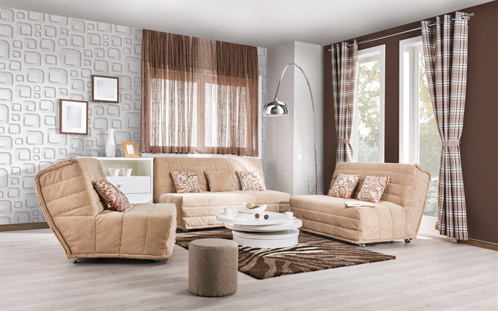 brown living room, 4k, brown-white interior, modern design, white walls, brown sofas, stylish coffee table