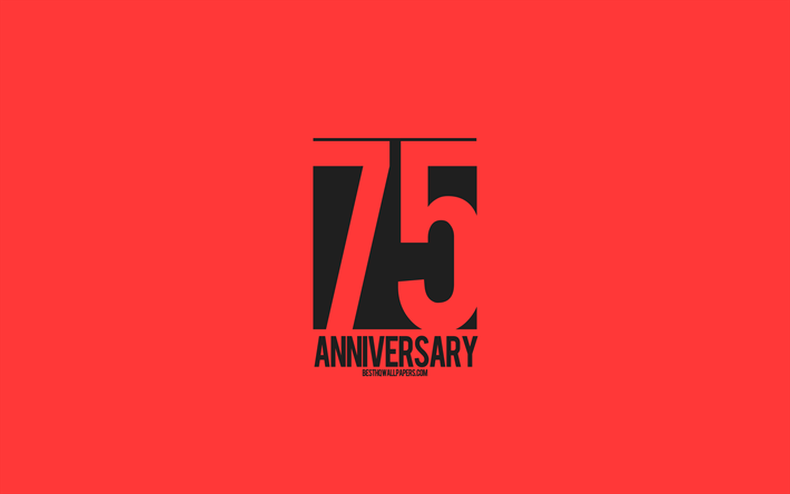 75th Anniversary sign, minimalism style, red background, creative art, 75 years anniversary, typography, 75th Anniversary