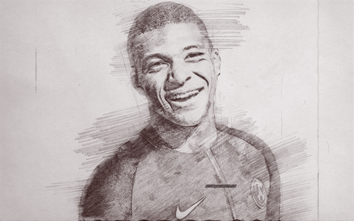 Kylian Mbappe, portrait, PSG, pencil drawing portrait, french football player, Paris Saint-Germain, France, Ligue 1, football