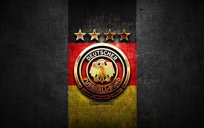 Germany National Football Team, golden logo, Europe, UEFA, gray metal background, German football team, soccer, DFB logo, football, Germany