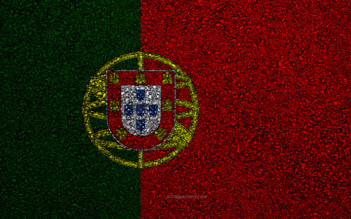 Flag of Portugal, asphalt texture, flag on asphalt, Portugal flag, Europe, Portugal, flags of european countries