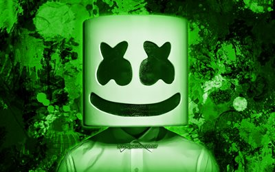 DJ Marshmello, green paint splashes, fan art, superstars, Christopher Comstock, american DJ, music stars, Marshmello, green grunge background, DJs