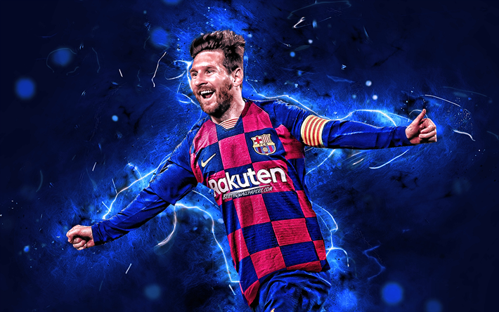 Lionel Messi, 2019, new uniform, Barcelona FC, argentinian footballers, FCB, football stars, La Liga, Messi, Leo Messi, neon lights, LaLiga, Spain, Barca, soccer