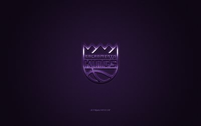 Sacramento Kings, American club di pallacanestro, NBA, viola logo, viola contesto in fibra di carbonio, basket, Sacramento, California, USA, la National Basketball Association, Sacramento Kings logo