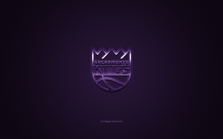 Sacramento Kings, American basketball club, NBA, purple logo, purple carbon fiber background, basketball, Sacramento, California, USA, National Basketball Association, Sacramento Kings logo