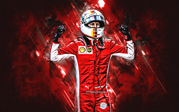 Sebastian Vettel, german race car driver, F1 Driver, Scuderia Ferrari, portrait, red stone background, Formula 1, racers
