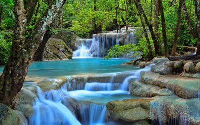 Thailand, 4k, jungle, stream, waterfalls, blue river, Asia, beautiful nature