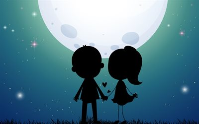 Lovers Silhouette, night, moon, couple, Silhouette of Lovers, couple of lovers