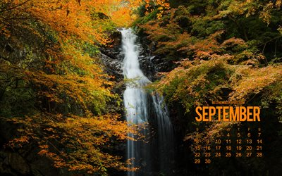 2019 September calendar, autumn waterfall, beautiful autumn landscape, calendar for september 2019, autumn, waterfall, September 2019 calendar