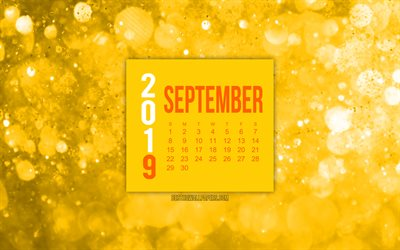 2019 September Calendar, yellow abstract background, September 2019 calendar, creative art, 2019 calendars