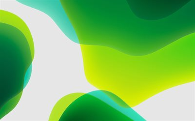 green abstract waves, abstract art, abstract waves, creative, green backgrounds, green waves, geometric shapes, green gradient background