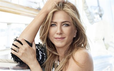 Jennifer Aniston, portrait, american actress, photoshoot, black and white dress