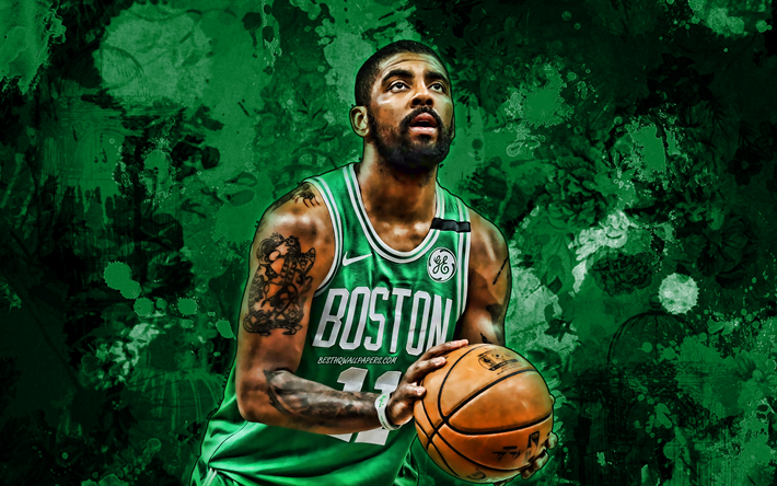Cartoon Kyrie Irving Wallpapers Boston Celtics: Download Wallpapers Kyrie Irving, Green Paint Splashes