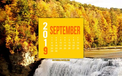 2019 September Calendar, mountain river, autumn landscape, yellow paper element, 2019 Calendars, September