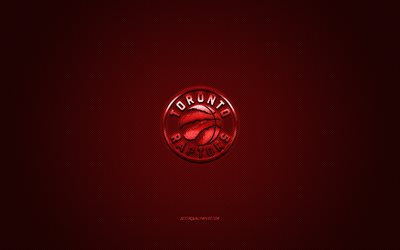 Toronto Raptors, Canadese basket club, NBA, logo rosso, rosso contesto in fibra di carbonio, basket, Toronto, Canada, USA, la National Basketball Association, Toronto Raptors logo