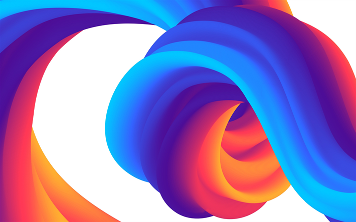 colorful 3D waves, colorful waves, colorful wavy background, 3D waves texture, 3D waves background, 3D art, waves textures, wavy backgrounds