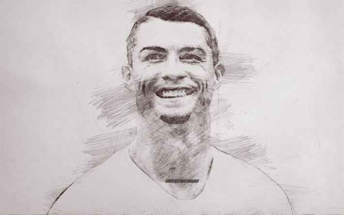 Download Wallpapers Cristiano Ronaldo Painted Portrait Cr7 Portrait Pencil Drawing Smile World Football Star Paper Background For Desktop Free Pictures For Desktop Free