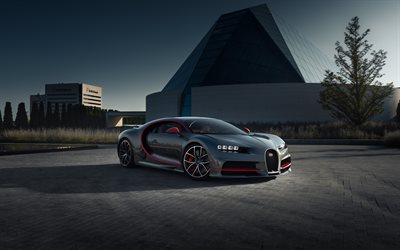 Bugatti Chiron, 2019, gray-red sports coupe, hypercar, gray red Chiron, Swedish sports cars, supercars, Bugatti