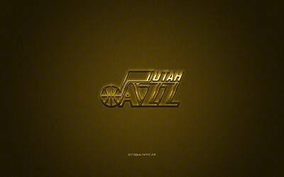 Utah Jazz Americano, il basket club, NBA, giallo logo, giallo contesto in fibra di carbonio, basket, Salt Lake City, Utah, USA, la National Basketball Association, Utah Jazz logo