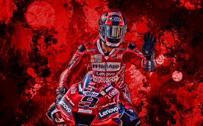 Danilo Petrucci, red paint splashes, MotoGP, 2019 bikes, Ducati Desmosedici GP19, grunge art, Mission Winnow Ducati Team, Ducati