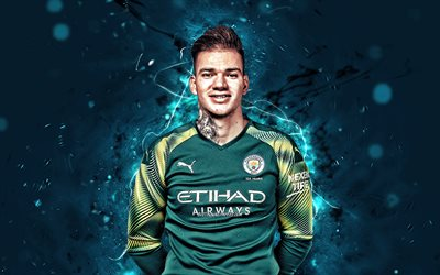 Ederson Moraes, season 2019-2020, brazilian footballers, goalkeeper, Manchester City FC, Ederson, neon lights, Ederson Santana de Moraes, soccer, Premier League, football, Man City