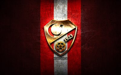 Turkey National Football Team, golden logo, Europe, UEFA, red metal background, Turkish football team, soccer, TFF logo, football, Turkey