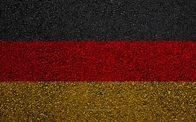 Flag of Germany, asphalt texture, flag on asphalt, Germany flag, Europe, Germany, flags of european countries, German flag