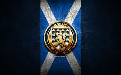 Scotland National Football Team, golden logo, Europe, UEFA, blue metal background, Scottish football team, soccer, SFA logo, football, Scotland