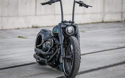 Harley-Davidson Softail, Thunderbike Black Apple, Custom Motorcycle, tuning, cool black motorcycle, american motorcycles, Harley-Davidson