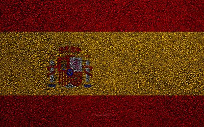 Flag of Spain, asphalt texture, flag on asphalt, Spain flag, Europe, Spain, flags of european countries