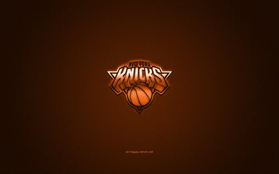 New York Knicks, American basketball club, NBA, orange logo, orange carbon fiber background, basketball, New York, USA, National Basketball Association, New York Knicks logo