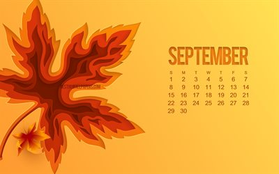 2019 September Calendar, orange background, autumn 3d leaf, September, 2019 calendars, September 2019 Calendar