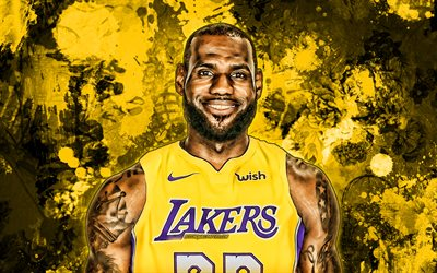 LeBron James, keltainen maali roiskeet, NBA, Los Angeles Lakers, koripallo, LeBron Raymone James Sr, grunge art, koripallo tähteä, LA Lakers, luova, LeBron James Lakers