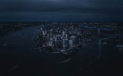 Manhattan from high, 4k, american cities, nightscapes, NYC, skyscrapers, New York, Manhattan, USA, Manhattan at night, Cities of New York, America, New York City