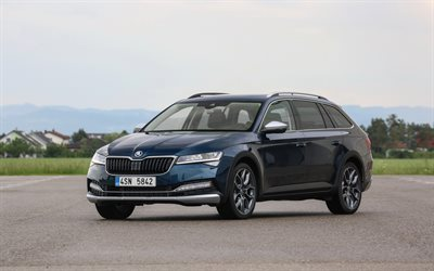 Skoda Superb Scout, 2020, exterior, blue station wagon, new blue Superb Scout, Czech cars, Skoda