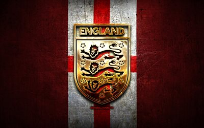 England National Football Team, golden logo, Europe, UEFA, red metal background, English football team, soccer, EFA logo, football, England