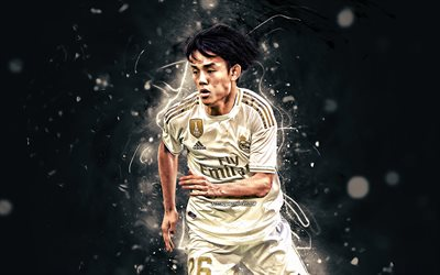 Takefusa Kubo, 2019, Japanese footballers, Real Madrid CF, soccer, fan art, Kubo, La Liga, neon lights, Spain, Takefusa Kubo Real Madrid