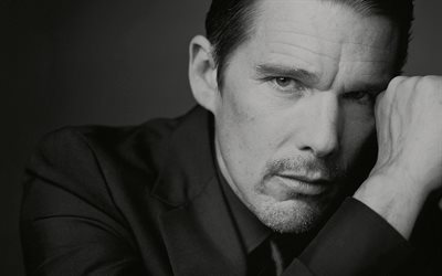 Ethan Hawke, american actor, portrait, monochrome, photoshoot